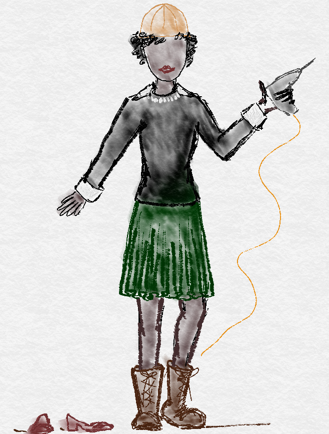 drawing of construction lady and fashion boots